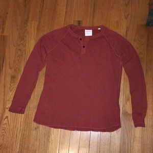 Billy Reid Orange Long Sleeve Henley Shirt
